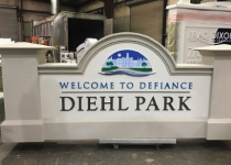 City of Defiance Diehl Park Sign Monument with Full-Color Digital City Logo