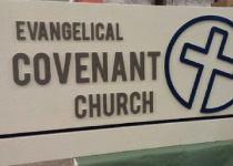 Evangelical Covenant Church Sign Monument with a 3-D Embossed Cross