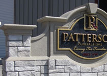 Patterson Funeral Home Sign Monument