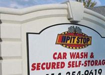 Pit Stop Car Wash Sign Monument