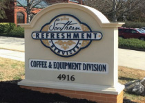 Southern Refreshment Business Entrance Sign Monument with Faux Brick Base