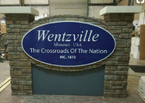 Welcome to City of Wentzville Sign Monument with Faux Block Stone