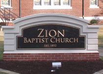 Church Sign Installed with Faux Brick that Matches Facility Architecture & Design
