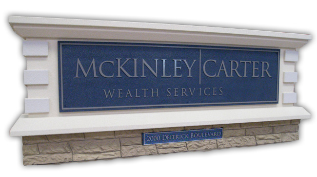McKinley Carter Sign Monument Faux Brick Base