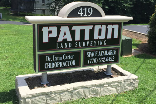 Patton Land Surveying Sign Monument After Picture