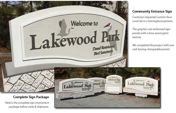 Lakewood Community Entrance Sign Monument Package